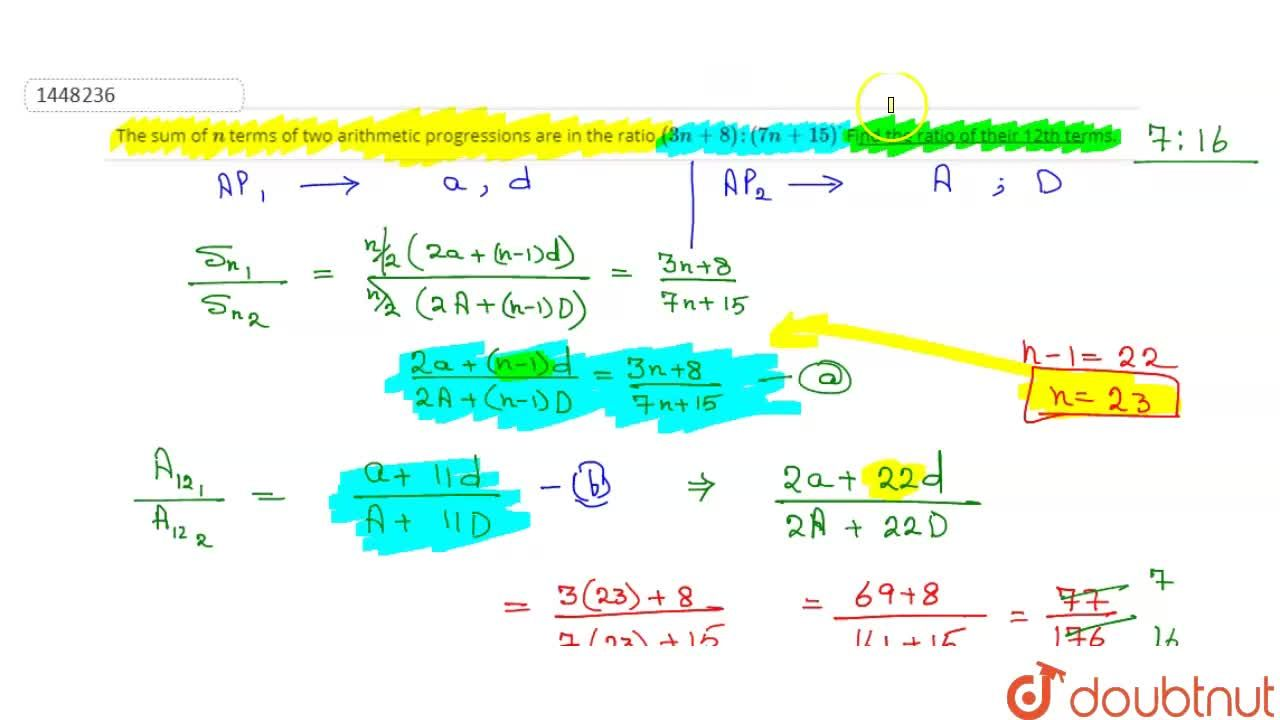 Solution for The sum of n terms of two arithmetic progression