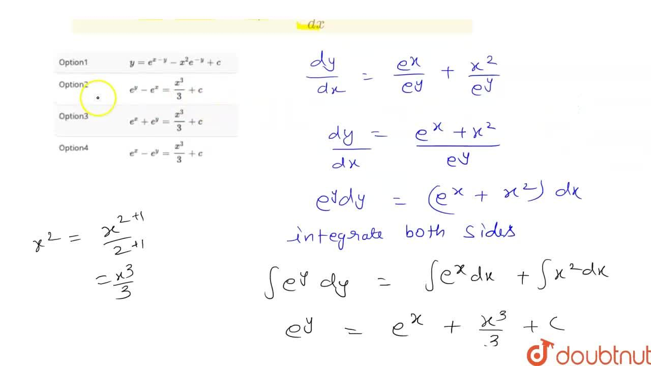 Solution for The solution of differential equation (dy),(dx) =