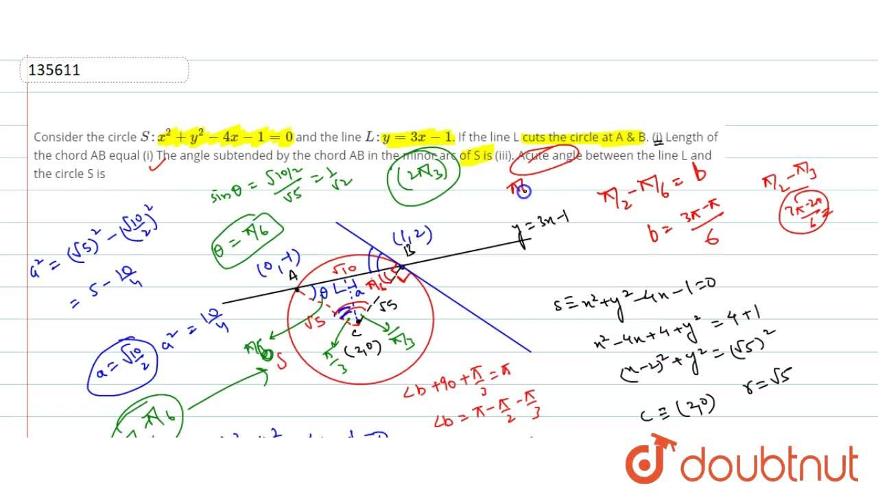 Solution for Consider the circle S: x^2 + y^2 - 4x-1=0 and th