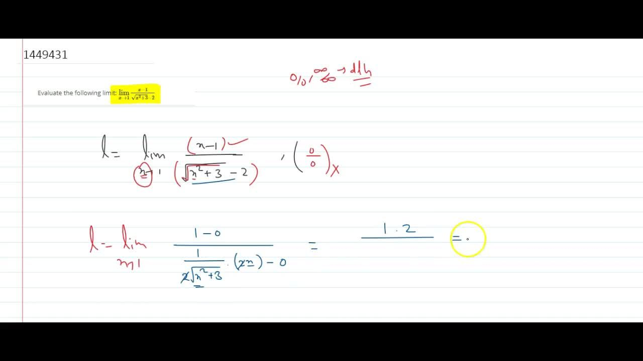 Solution for Evaluate the following limit: (lim)_(x->1)(x-1),(