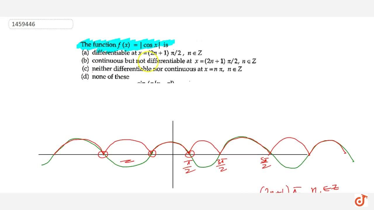 Solution for The function f(x)=|cosx| is differentiable at x