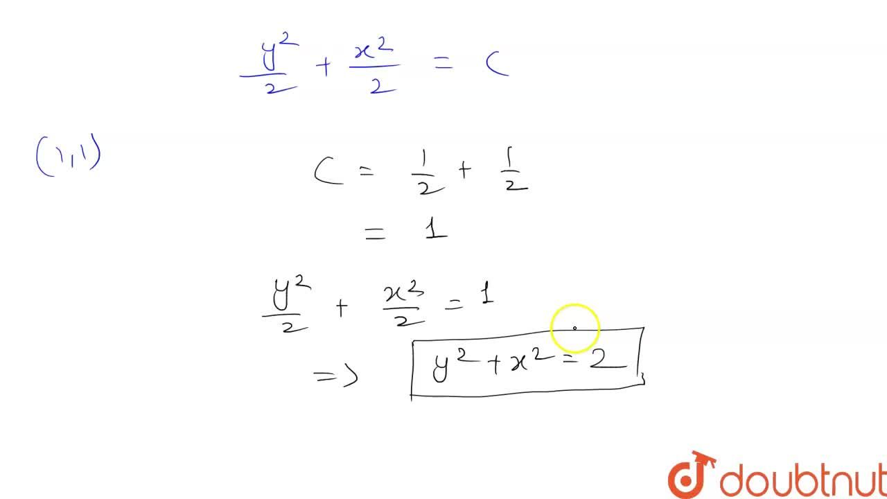 Find the equation of a curve passing through (1,1) and whose slope of tangent at a point (x, y) is -(x),(y).