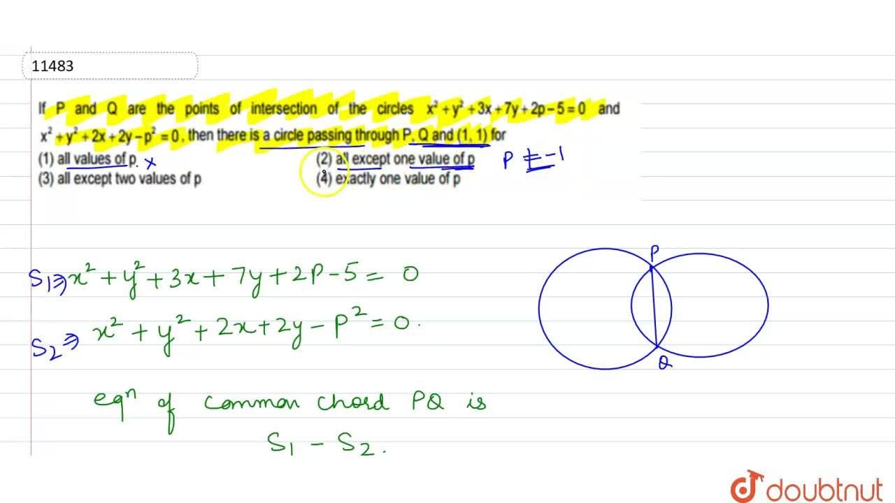 Solution for If P and Q are the points of intersection of the