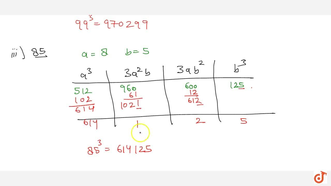 Solution for Using column method find the cubes of the   follo