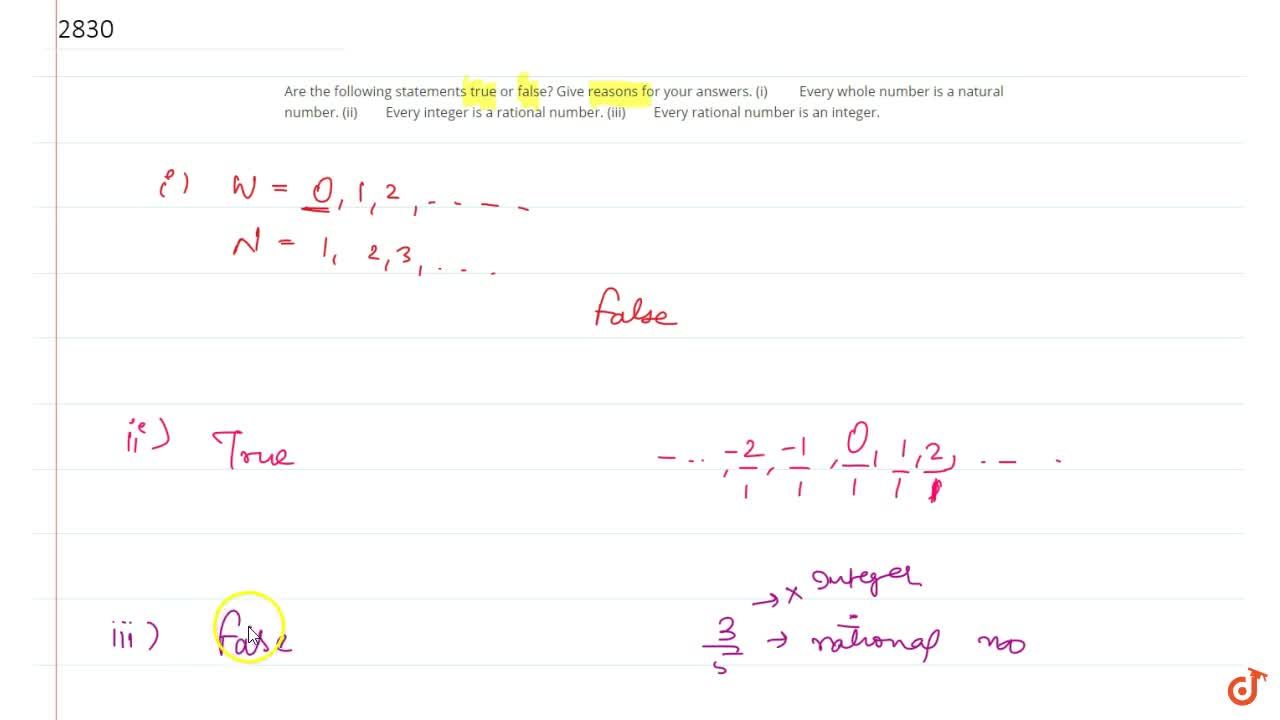 Solution for Are the following statements true or  false? Give