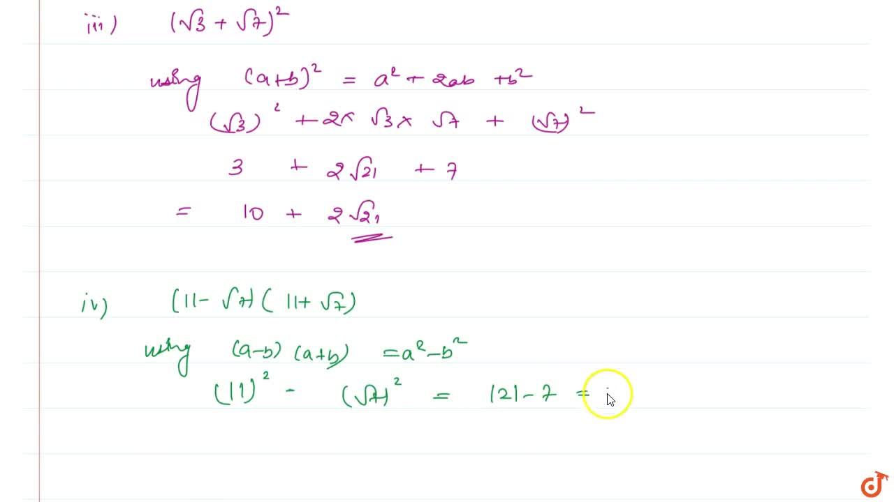 Solution for Simplify the following expressions. (i) (5+sqrt(7
