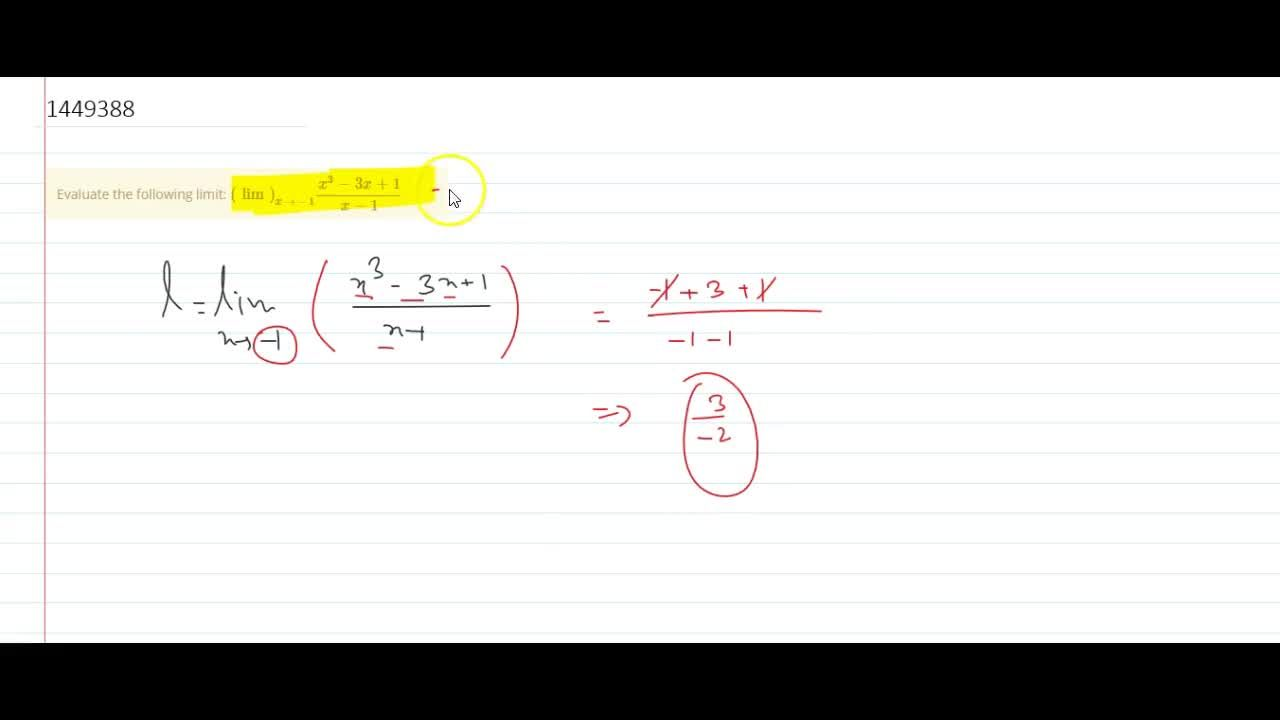 Solution for Evaluate the following limit: (lim)_(x->-1)(x^3-3