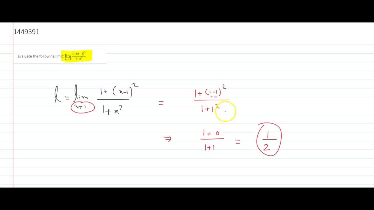 Solution for Evaluate the following limit: (lim)_(x->1)(1+(x-1