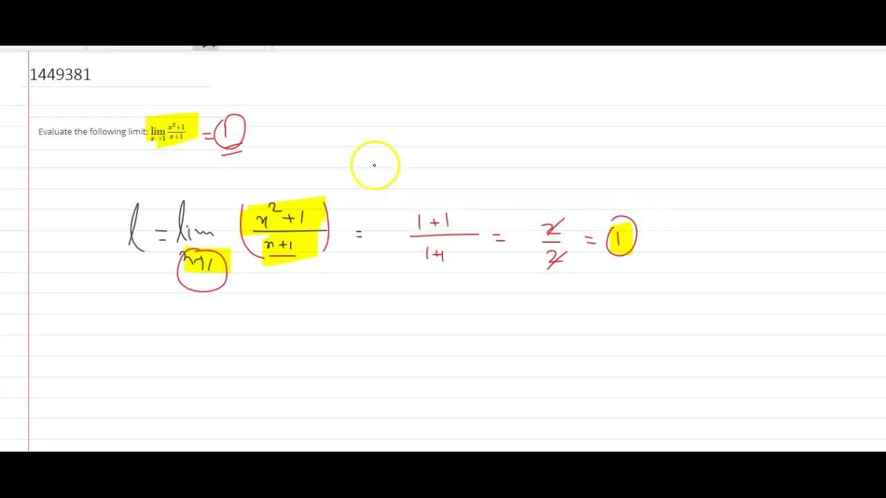 Solution for Evaluate the following limit: (lim)_(x->1)(x^2+1)