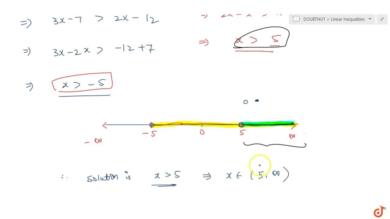 Solve the inequalities and represent the solution graphically on  number line. 3x-7>2(x-6),6-x > 11-2x.