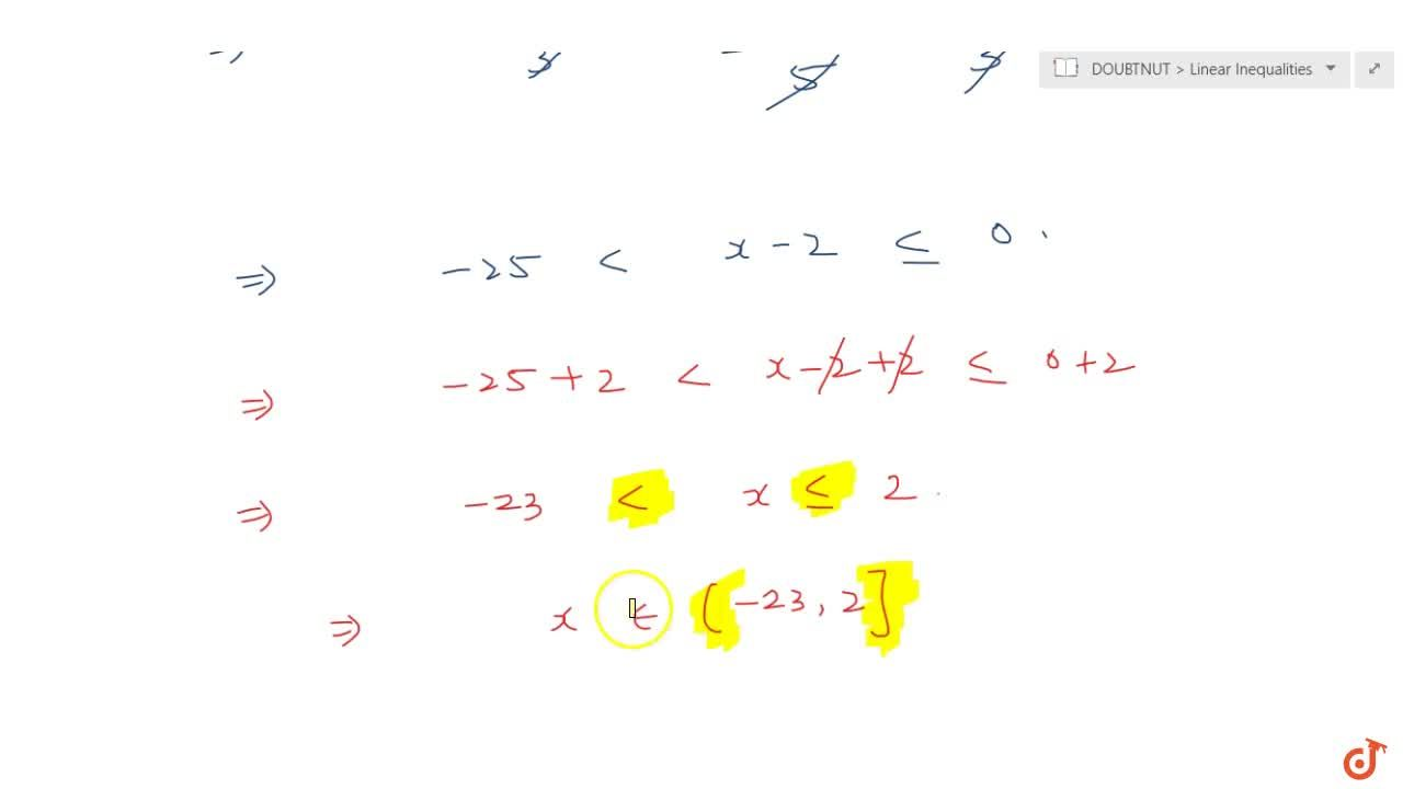Solution for Solve the inequalities : -15<(3(x-2)),5lt=0