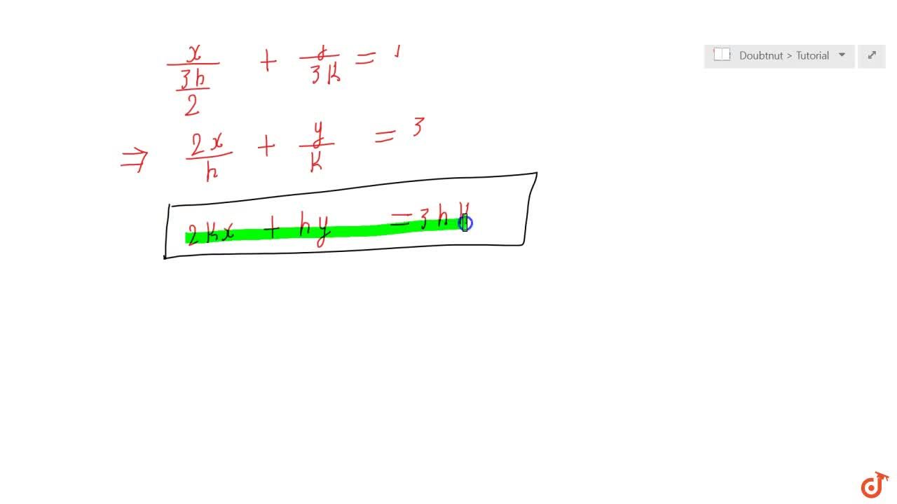 Point R (h, k) divides a line segment between the axes m the ratio  1: 2. Find equation of the line.
