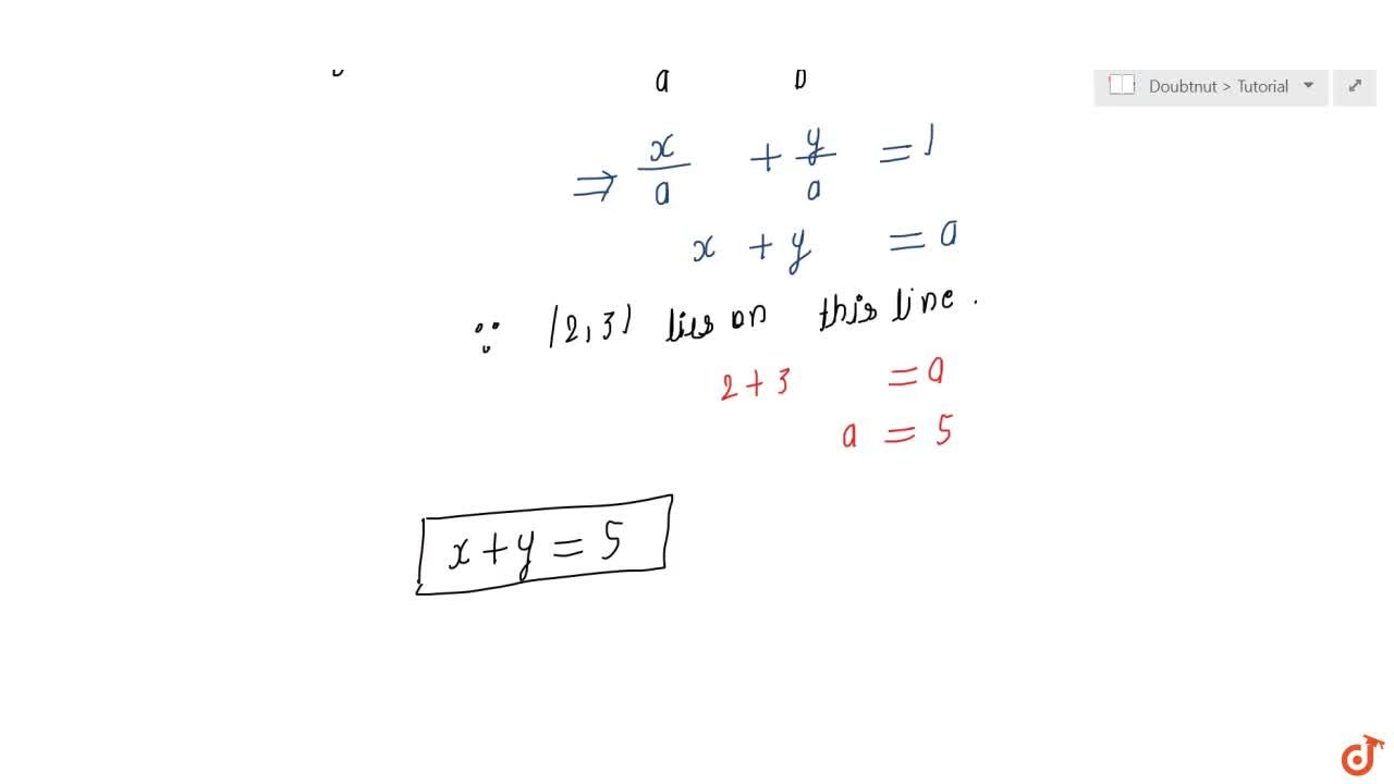Solution for Find the equation of a line that cuts off equal in