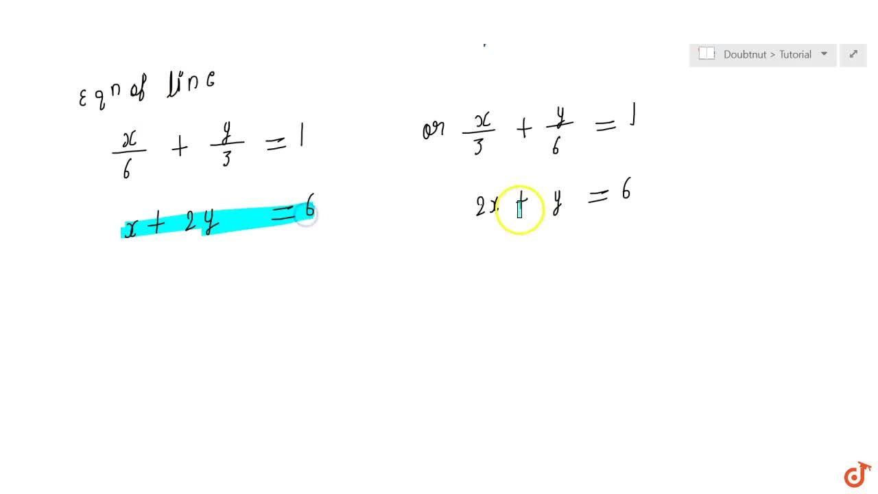Find equation of the line passing through the point (2, 2) and  cutting off intercepts on the axes whose sum is 9.