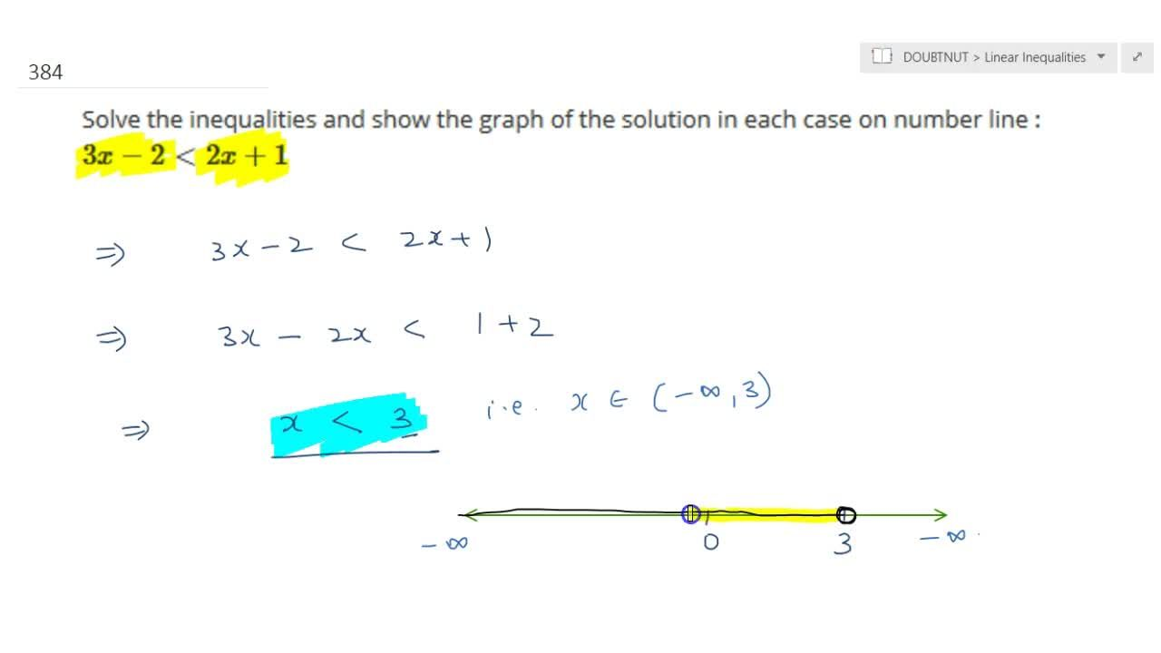 Solution for  Solve the inequalities and show the graph of the