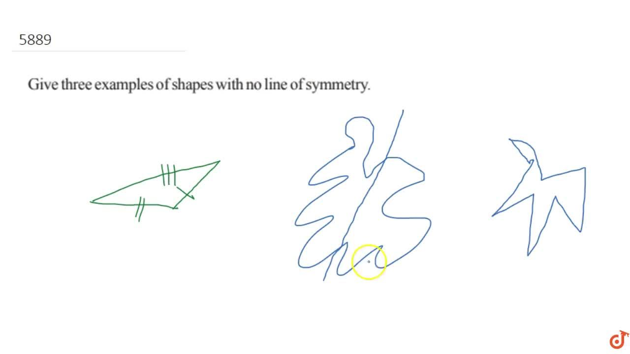Solution for Give three examples of shapes with no line of  sym