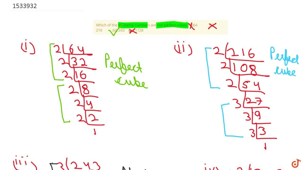 Solution for Which of the following numbers are not perfect cub