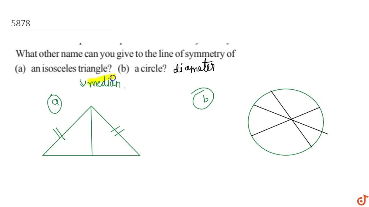 What other name can you give to the line of symmetry of(a) an isosceles triangle? (b) a circle?
