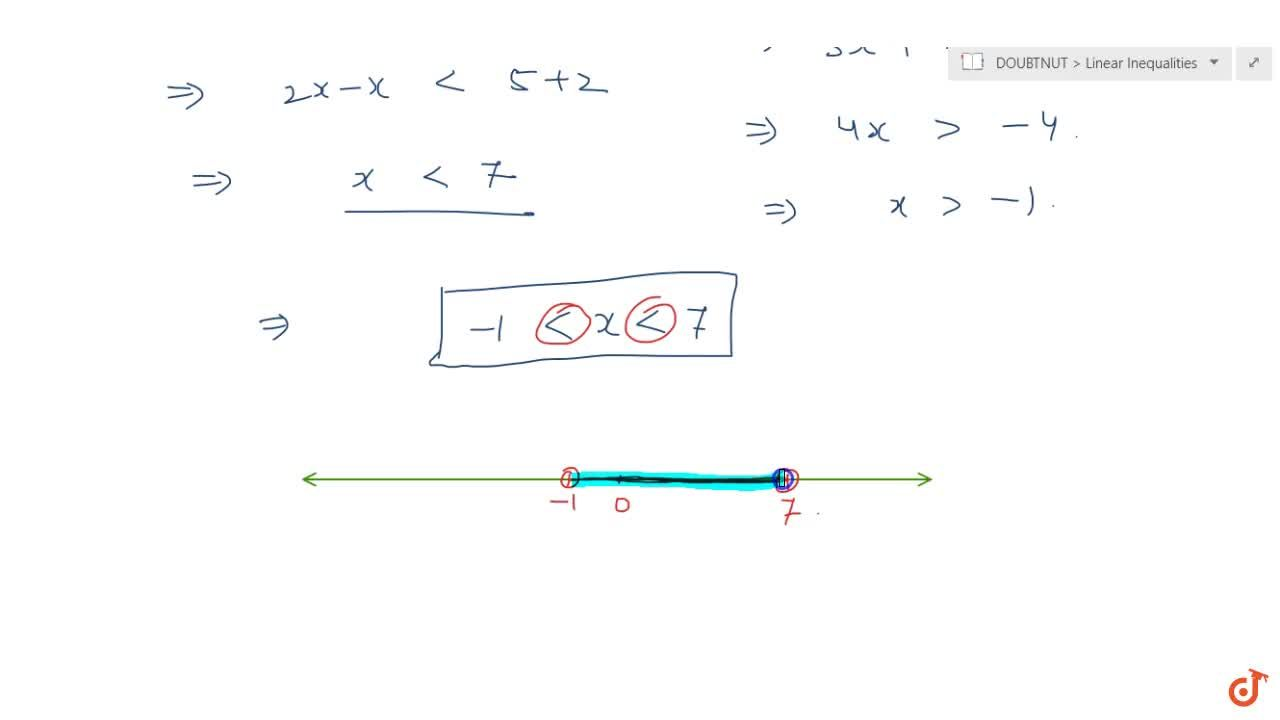 Solve the inequalities and represent the solution graphically on  number line. 2(x-1) lt (x+5),3(x+2)>2-x.<,x+5,3(x+2)>