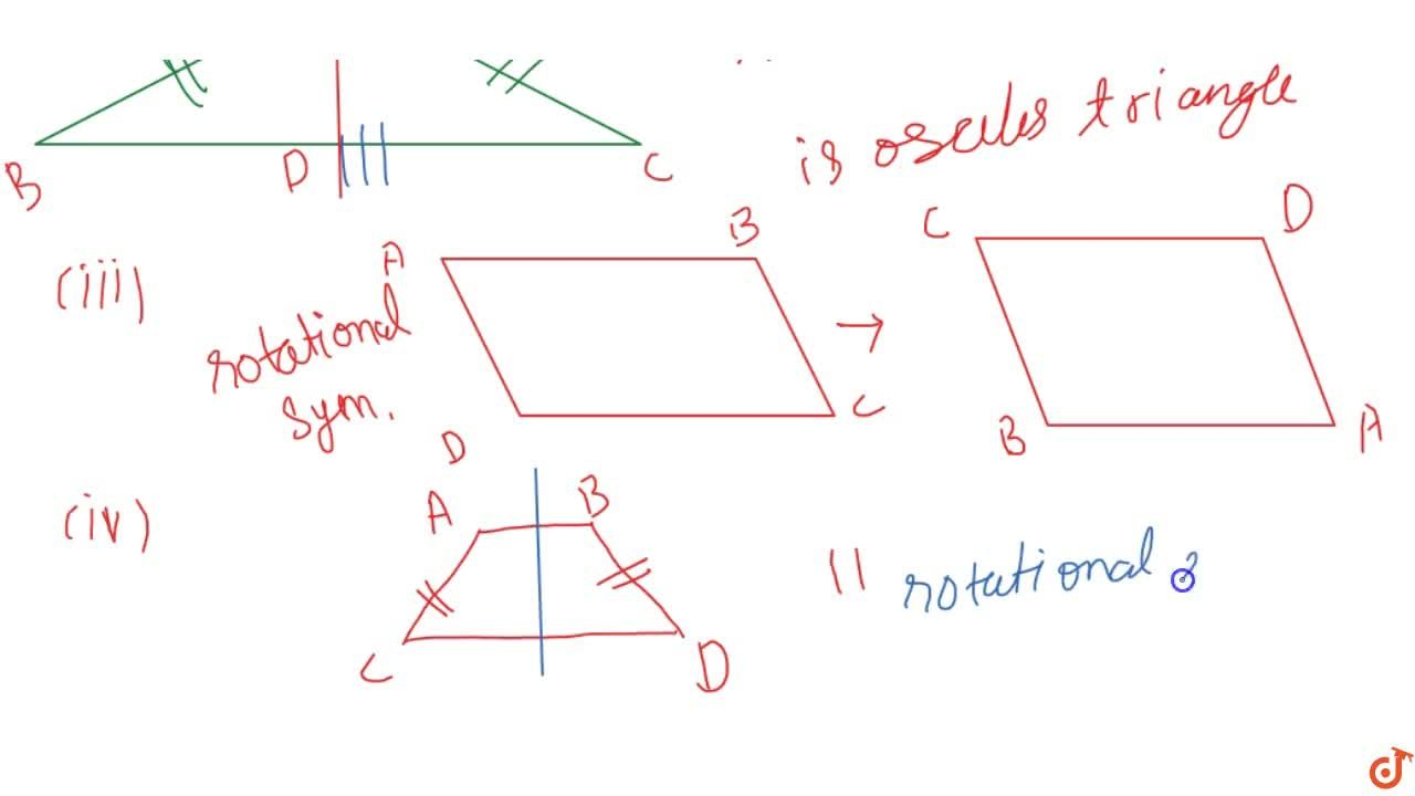 Draw, wherever possible, a rough sketch of(i) a triangle with both line and rotational symmetries of order more  than 1.(ii) a triangle with only line symmetry and no rotational symmetry of  order more than 1.(iii) a quadrilateral with a rotational symmetry of order more than 1  but not a line symmetry.(iv) a quadrilateral with line symmetry but not a rotational  symmetry of order more than 1.