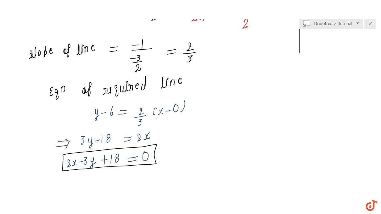 Solution for Find the equation of a line drawn perpendicular to
