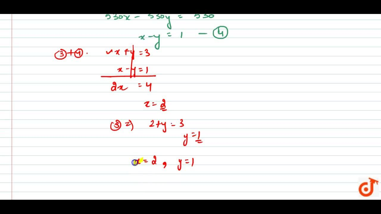 Solution for Solve the following pair of linear  equations:(i)