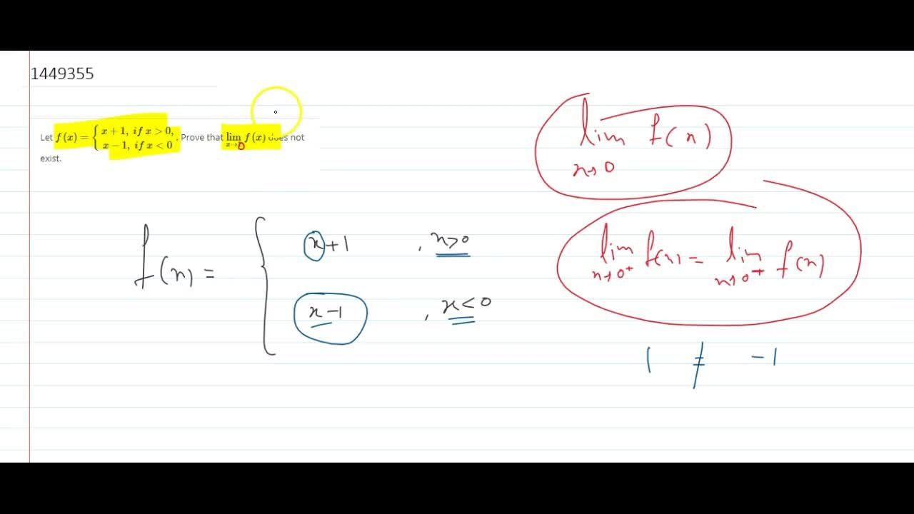Solution for Let f(x)={x+1,\ if\ x >0, x-1,\ if\ x<0dot Prove