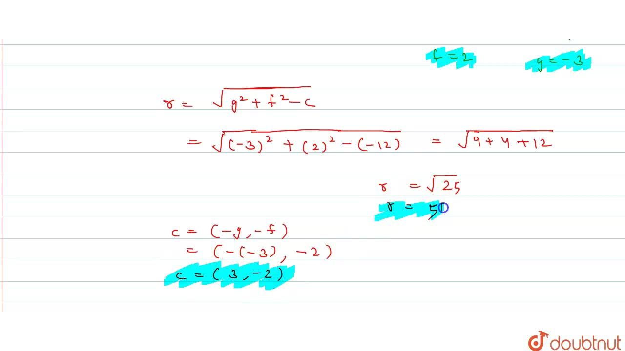 Solution for Find the centre and radius of the circle x^(2) +
