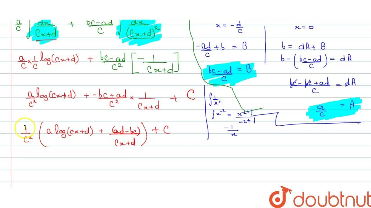 Solution for Evaluate: int(a x+b),((c x+d)^2)\ dx
