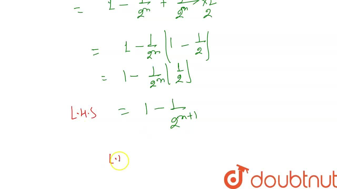 Solution for (1),(2)+(1),(4)+(1),(8)+……………………+(1),(2^(n))=1-(1