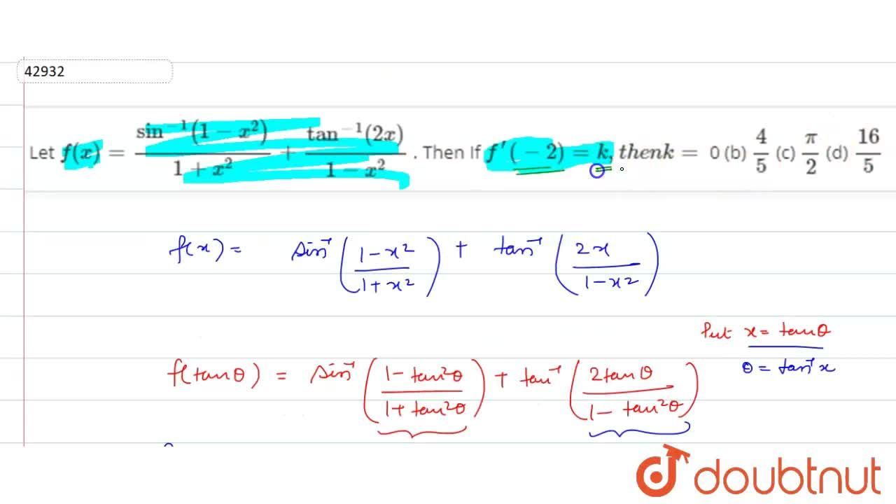 Solution for Comprehension (for Q. No. 1 to 3) Let f(x)=sin^(-