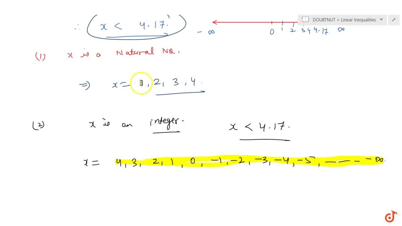 Solve 24 x<100, when <br>(i) x is a natural number. <br> (ii)  x is an integer.