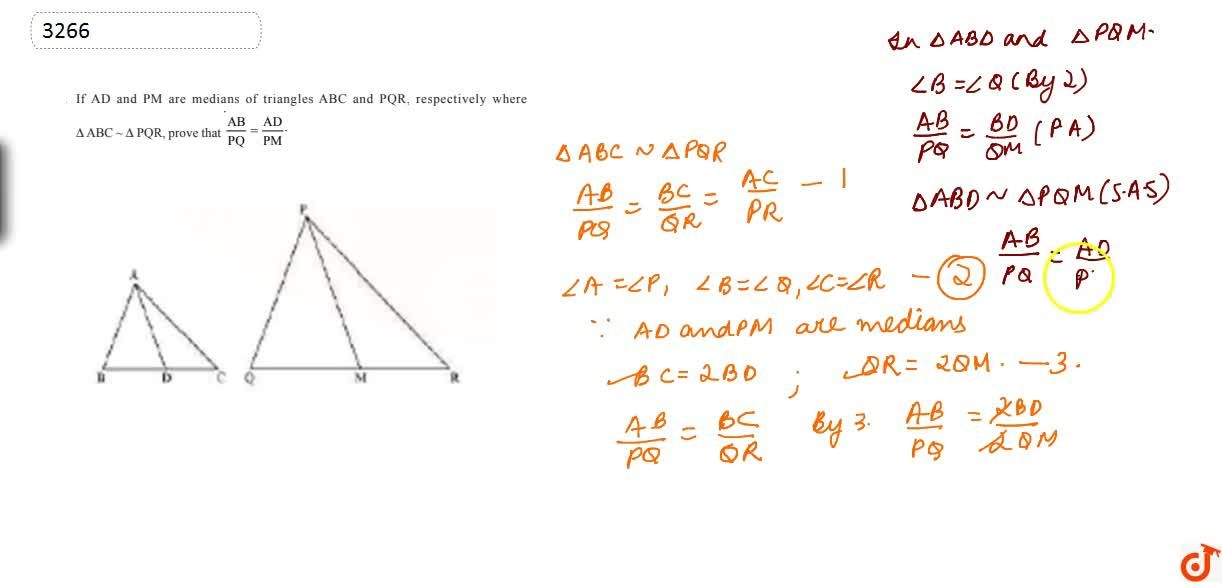 If  AD and PM are medians of triangles ABC and PQR, respectively whereDeltaA B C ~DeltaP Q R,  prove that (A B),(P Q)=(A D),(P M)