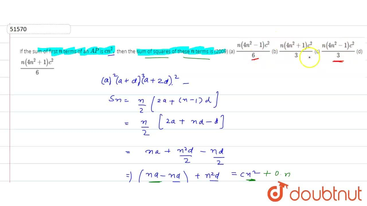 Solution for  If the sum of first n terms of an A P is c