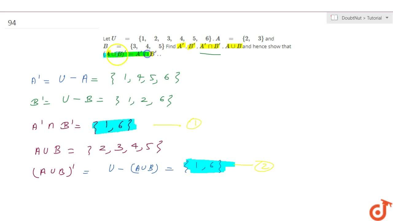 Solution for  Let U = {1, 2, 3, 4, 5, 6}, A = {2, 3}and B