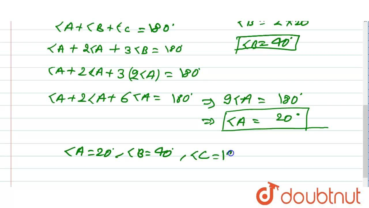 Solution for एक Delta ABC में , angle C=3angle B=2(angle A+a