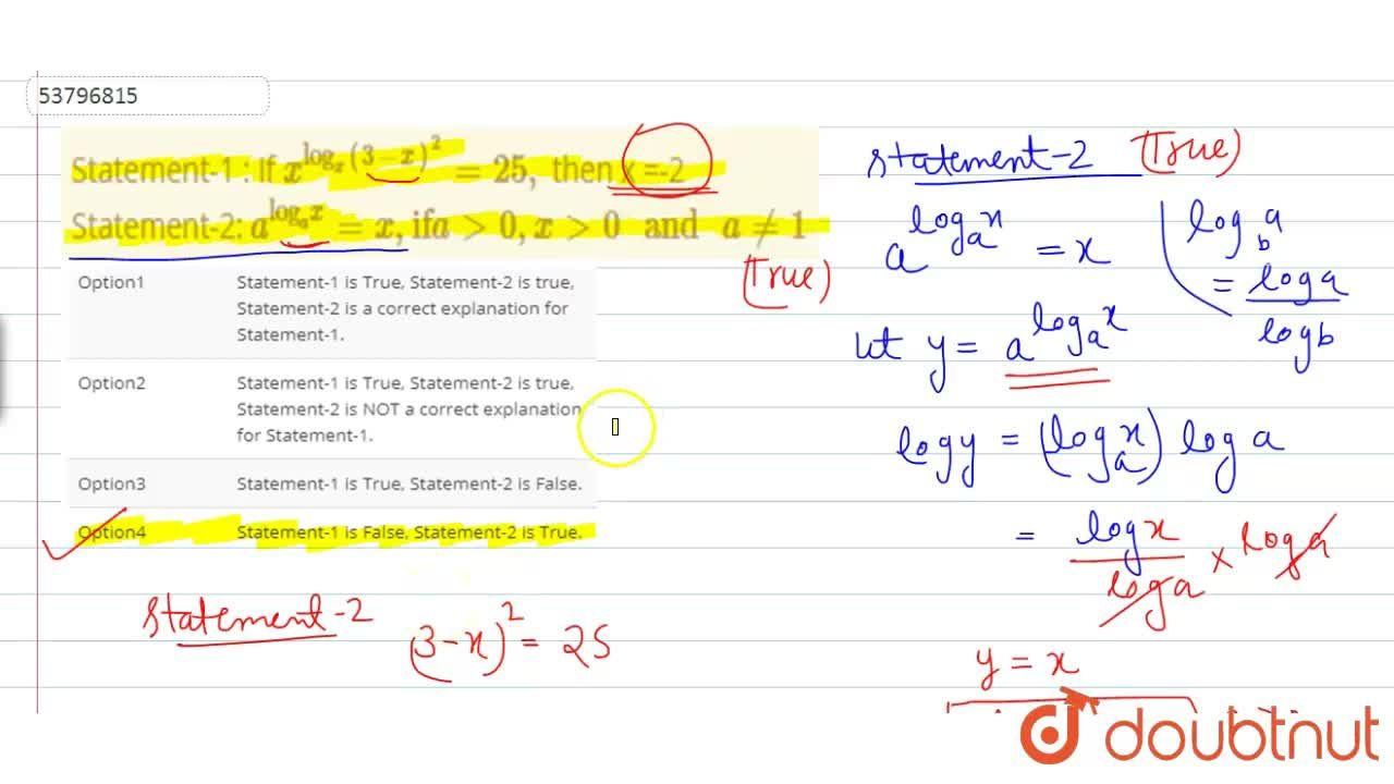 """Solution for Statement-1 : If x^(""""log""""_(x) (3-x)^(2)) = 25, t"""