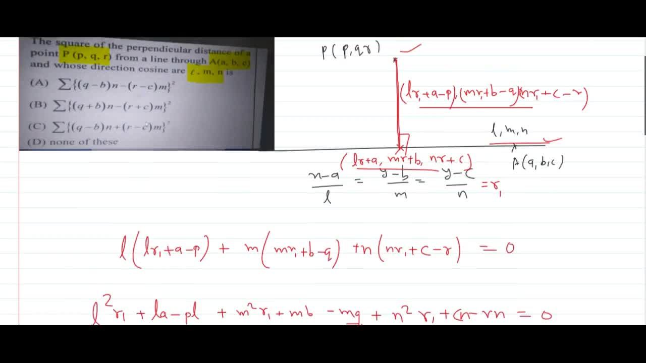 Solution for    The square of the perpendicular distance of apo
