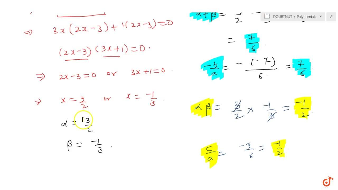 Solution for Find the zeroes of the following  quadratic polyno
