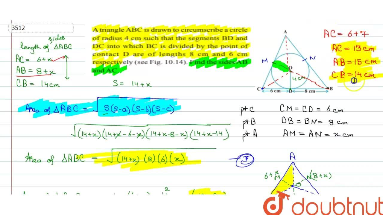 Solution for A triangle ABC is drawn to circumscribe a circle o