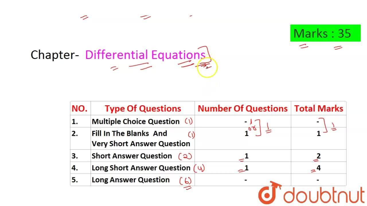 Solution for CBSE Board Class 12 DIFFERENTIAL EQUATIONS || Weig