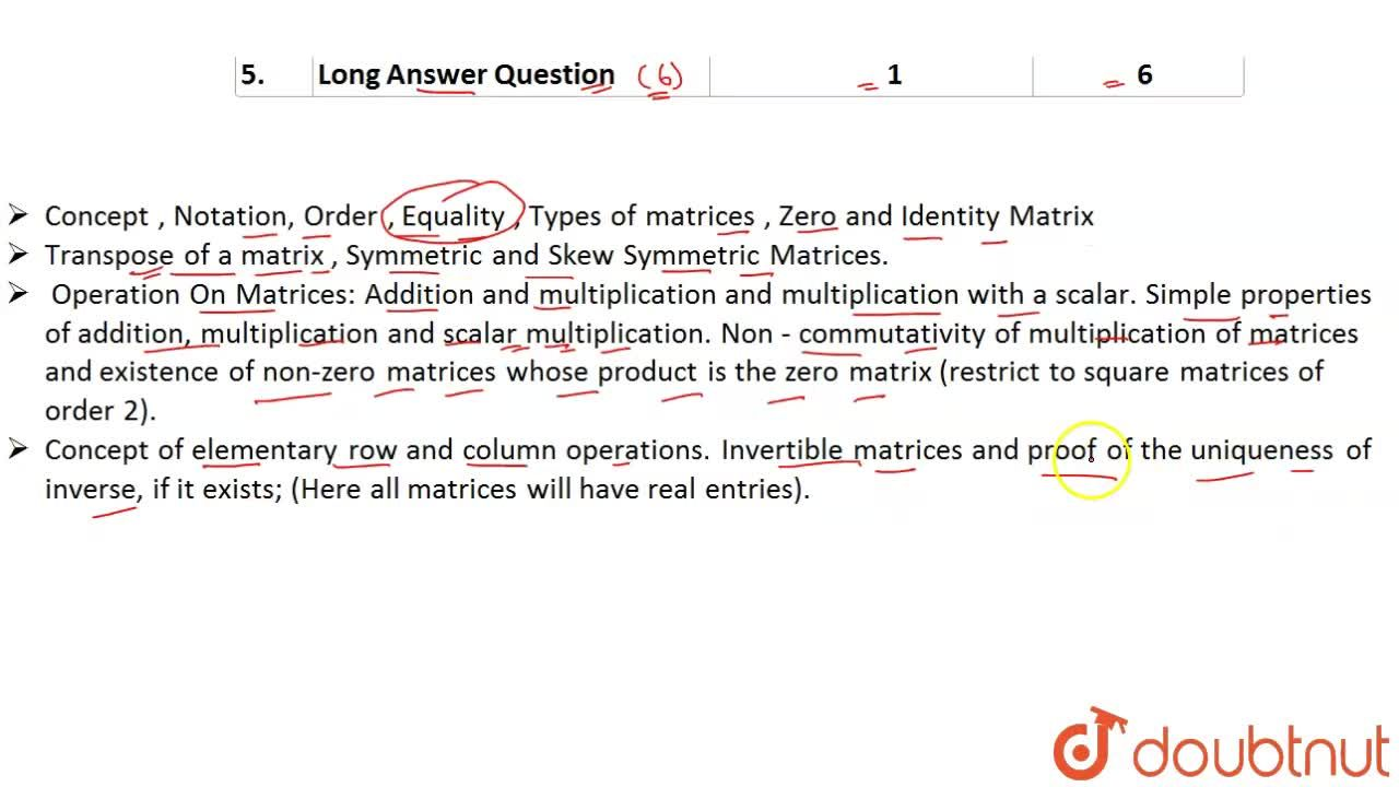 Solution for CBSE Board Class 12 MATRICES    Weightage and Impo