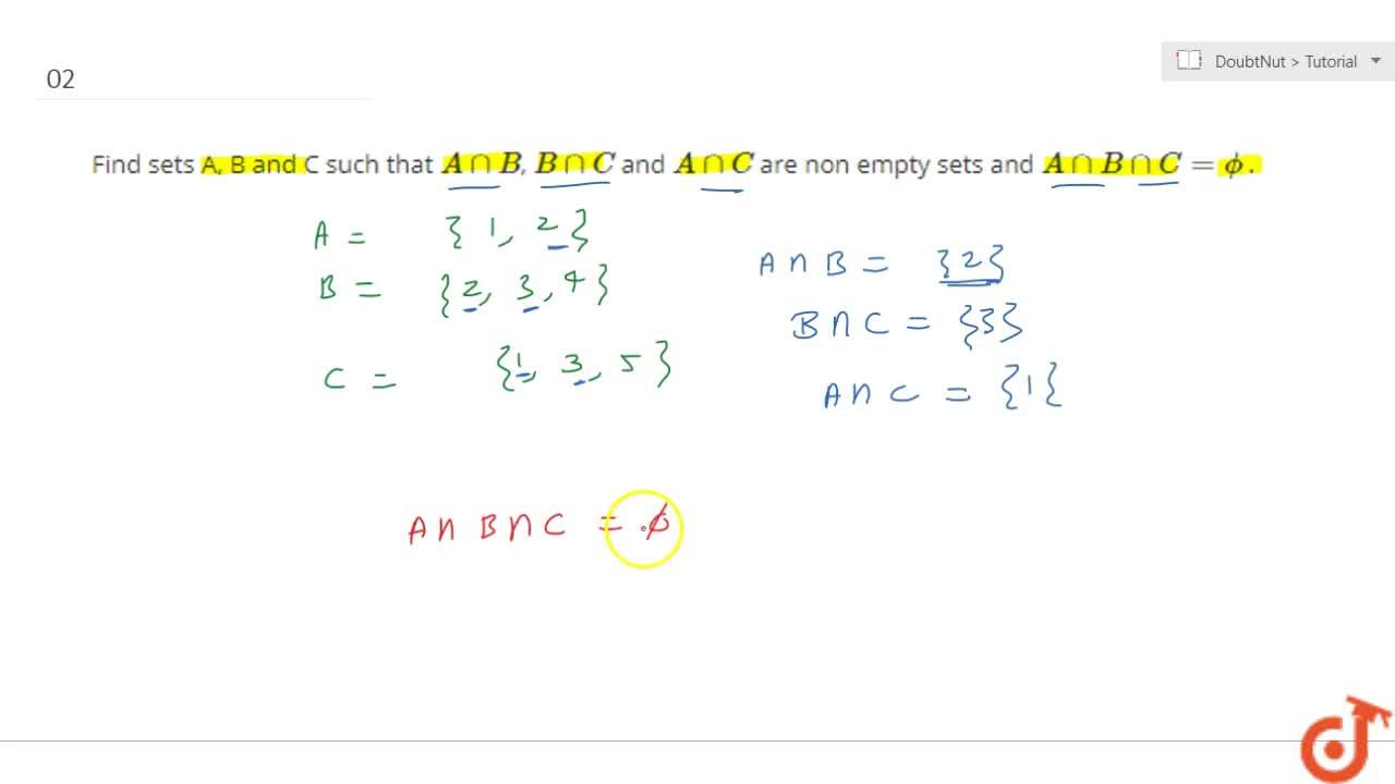 Find sets A, B and C such that AnnB, BnnC and AnnC are non empty sets and AnnBnnC=phi.