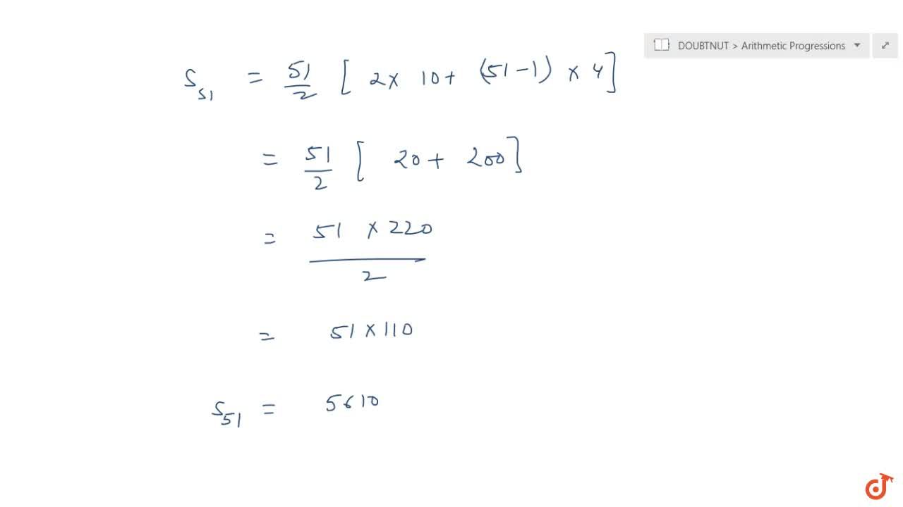 Solution for Find the sum of first 51 terms of an AP whose seco