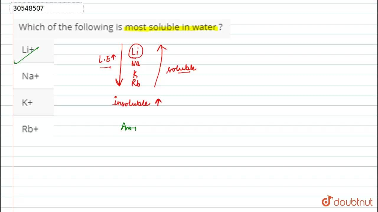 Solution for Which of the following is most soluble in water ?