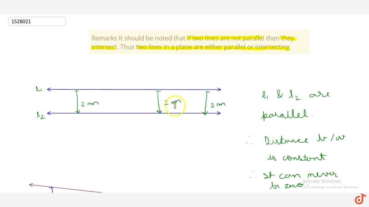 Solution for Remarks It should be noted that if two lines are n