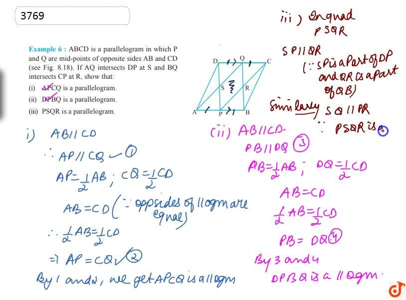 Solution for ABCD is a parallelogram in  which P and Q are mid-