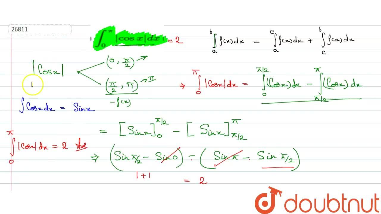 Solution for Evaluate: int_0^1|5x-3|dx    (ii) int_0^pi|cos
