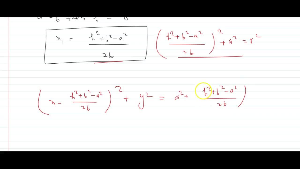 Find the equation to the circle passing through the points (0, a)and (b, h), and having its centre on the axis of x.