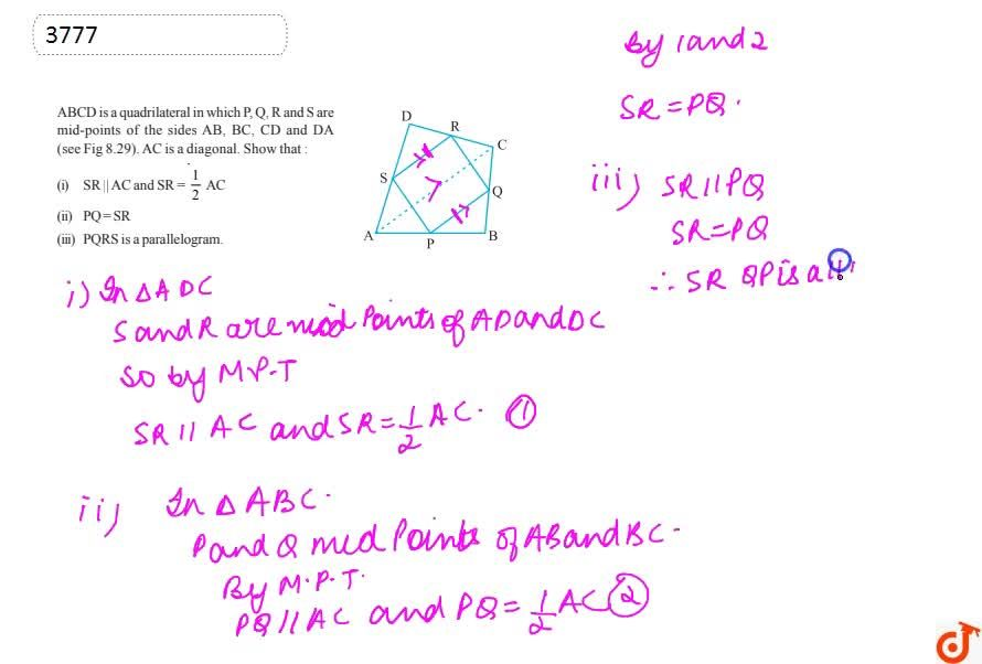 Solution for ABCD is a  quadrilateral in which P, Q, R and S ar